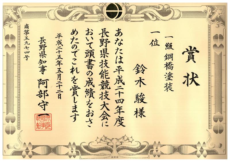 平成24年度長野県技能競技大会にて 1級鋼橋塗装 第1位
